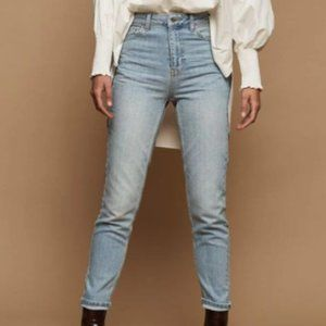 Topshop Bleach Stone Premium Mom Tapered Jeans
